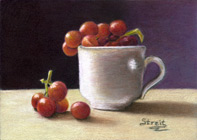 Cup Full of Grapes, colored pencil by Cynthia Streit Mazzaferro